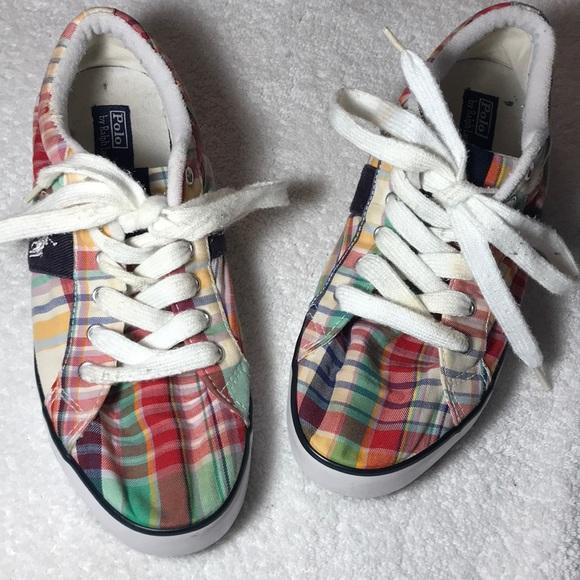 Polo Ralph Lauren Plaid Tennis Shoes